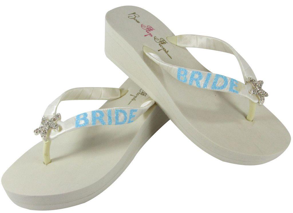bb7c20d393cb4c Starfish Aqua Blue Flip Flops in Ivory with Glitter Bride Bling on Heel  Platform Sandals