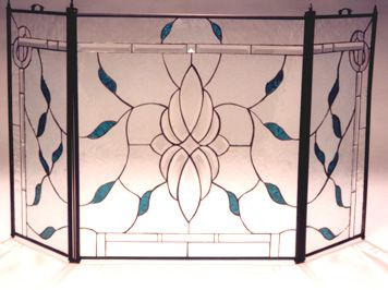 3 Section Screen with large center bevel and border with teal leaves