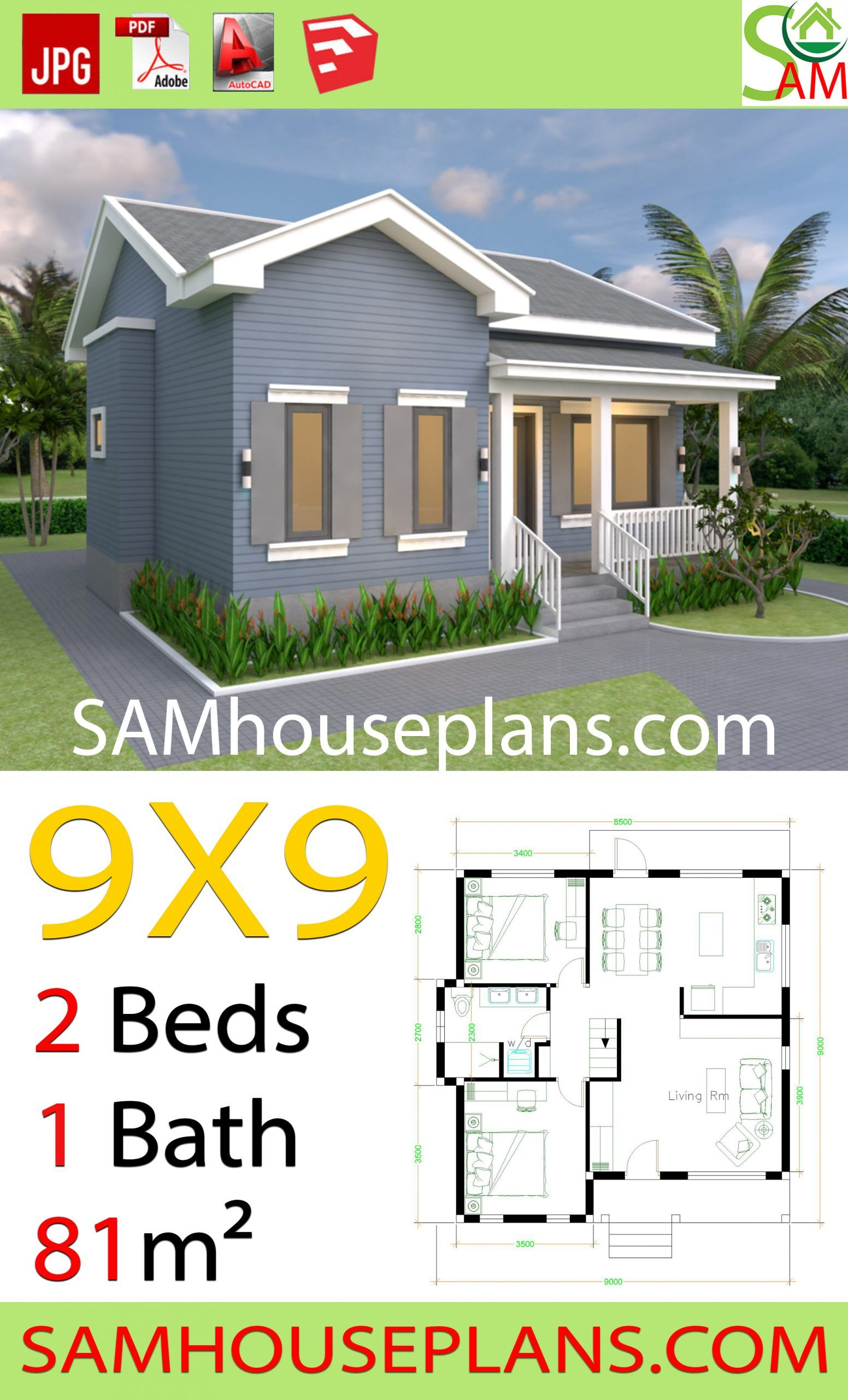 House Plans 9x9 With 2 Bedrooms Gable Roof House Plans 3d In 2020 Gable Roof House Affordable House Plans Diy House Plans