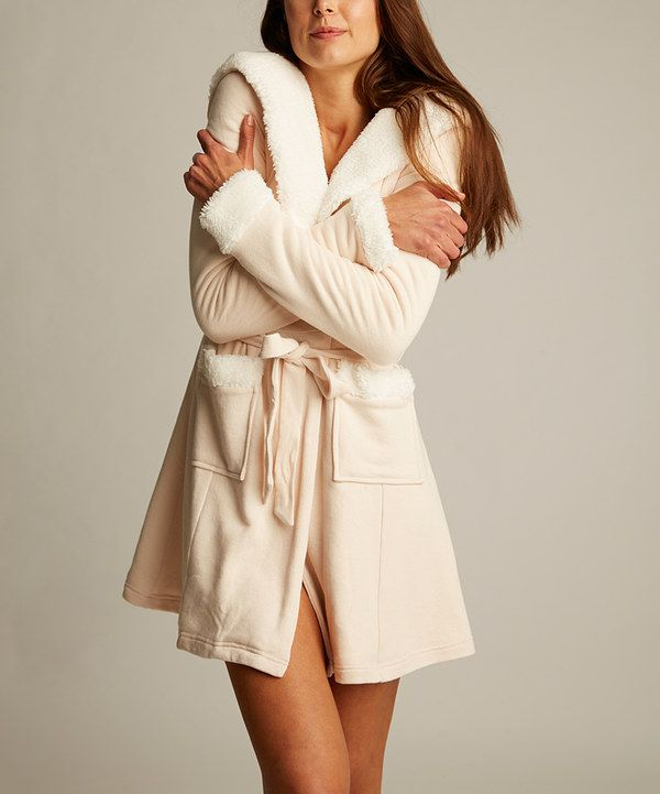 Look at this Lemon Legwear Dew Faux Fur-Accent Signature Hooded Robe ...