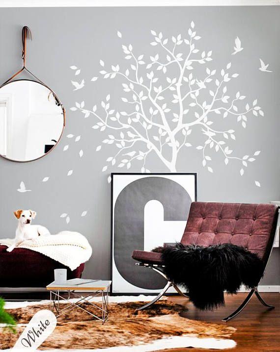 White Tree Wall Decal Nursery With Birds Studio Decor
