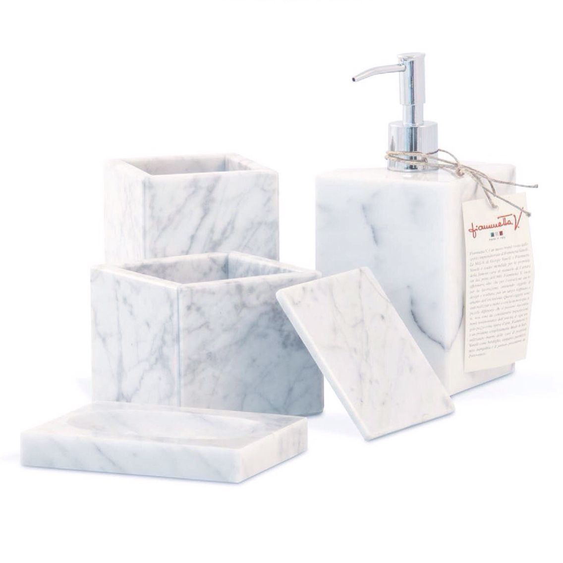 White Carrara Marble Bathroom Set: Soap dispenser | Soap dish ...