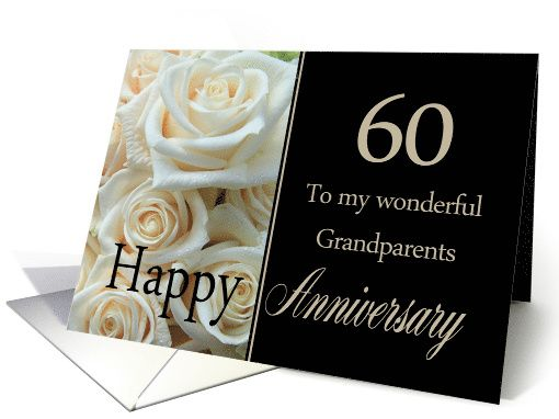Th anniversary card for grandparents pale pink roses card