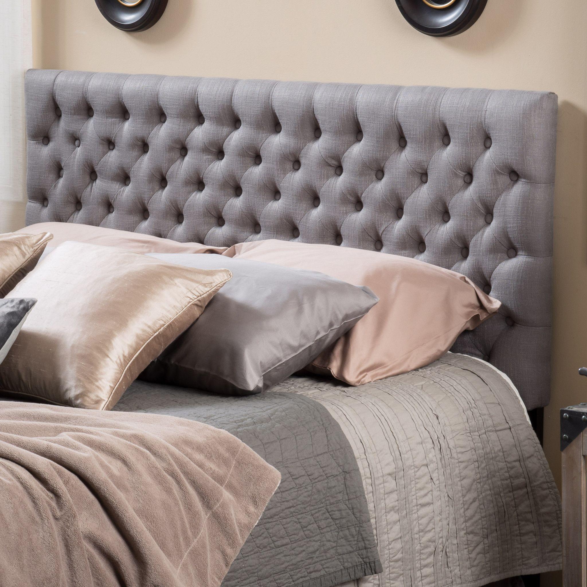 Ludington queenfull dark grey fabric headboard grey fabric