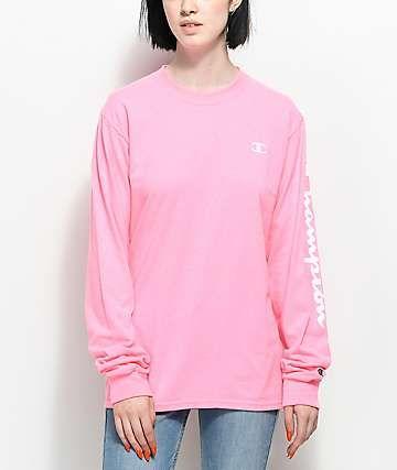 1b7e43a4 Champion Script Pink Long Sleeve T-Shirt | * Zumiez * | Sleeves, T ...