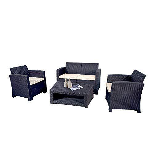 Trueshopping Marbella 4 Seater Rattan Sofa Garden Furniture Set with