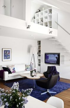 Cool White and Cobalt Blue, Modern  Mezzanine