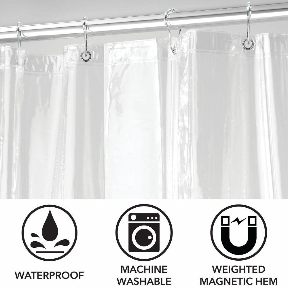 X Long Vinyl Shower Curtain Liner Rings In Clear 1 75 X 3