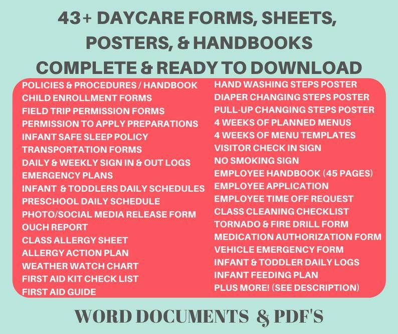 Daycare Forms Package Start Your Own Childcare Center Etsy Childcare Center Daycare Forms Childcare