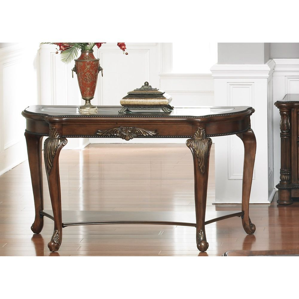 Best Accent Sofa Console Table Wood Cherry Finish 400 x 300