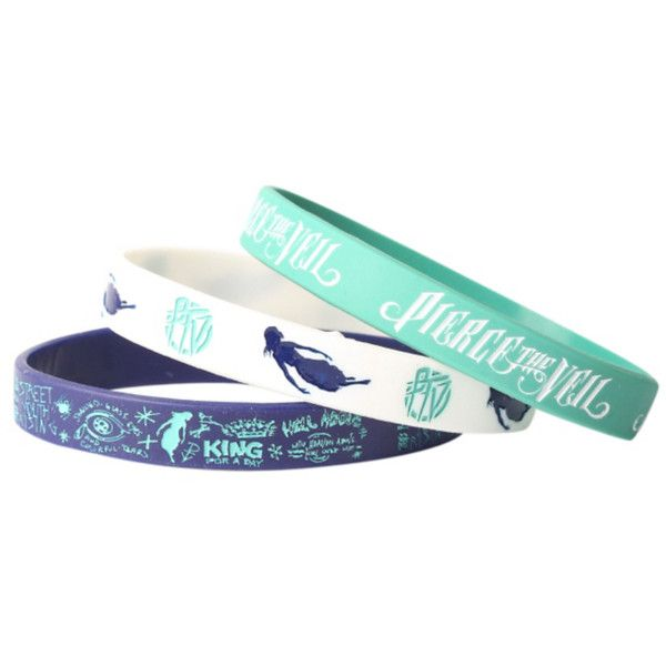 Pierce The Veil Rubber Bracelet 3 Pack | Hot Topic ($11) ❤ liked on Polyvore featuring jewelry, bracelets, rubber jewelry and rubber bangles