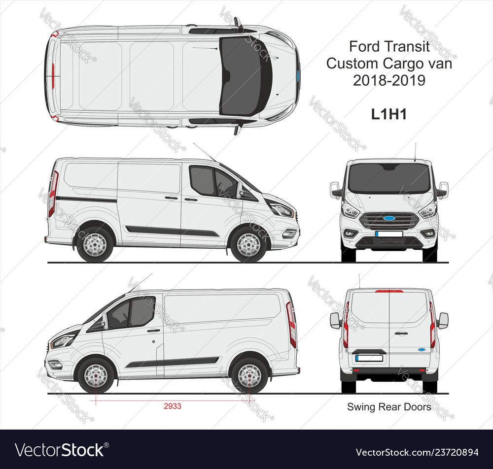 Ford Transit Custom Cargo Van L1h1 2018 2019 Vector Image On