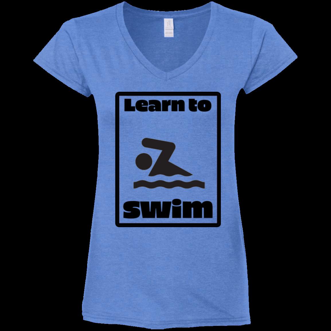 Learn to Swim Pun Front and Back DesignsGildan Ladies