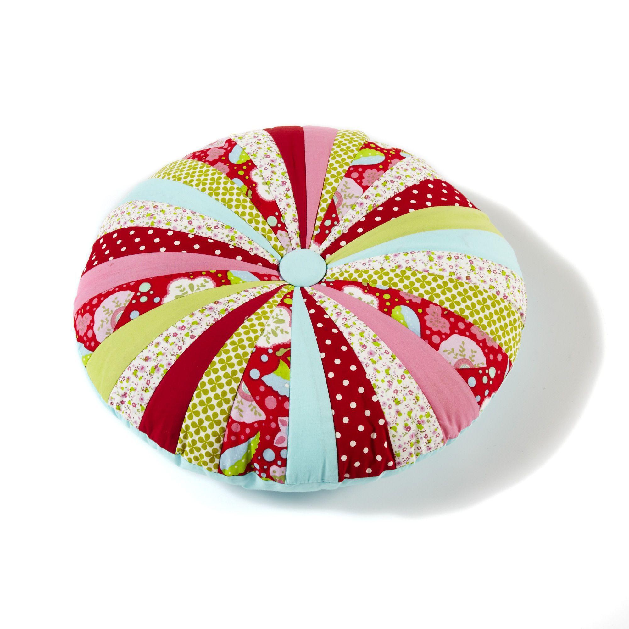 Coussin rond multicolore tagada les coussins de sol for Alizea linge d interieur