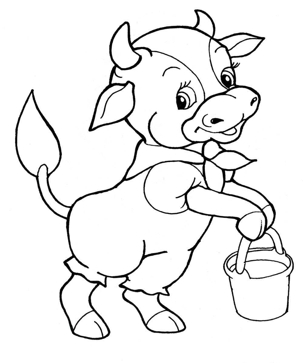 Корова раскраска для детей распечатать бесплатно в 2020 г ...