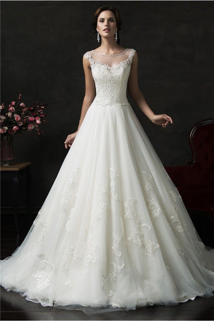 Ball Gown Bateau Illusion Neckline Sheer Back Tulle Lace Wedding ...