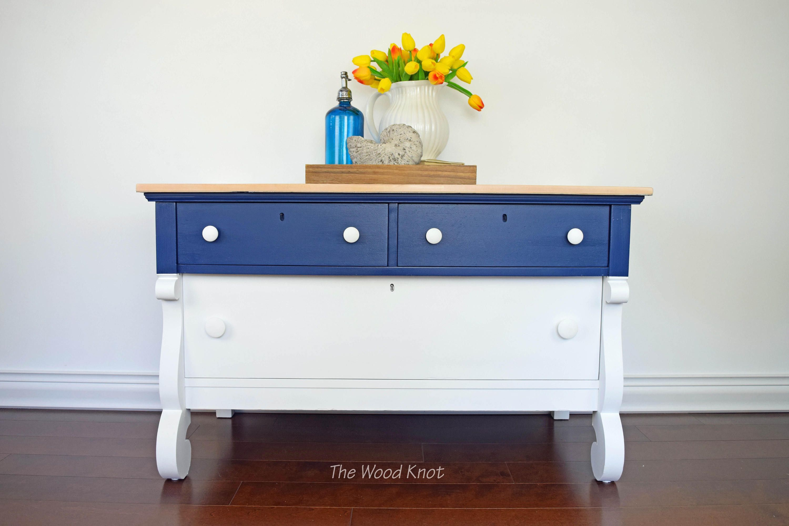 empire blue and white tv stand painted with annie sloan chalk paint