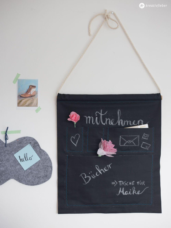 DIY Utensilo aus Tafelstoff - Stoff zum Beschriften mit Kreide - mehr Ordnung im Büro oder im Flur