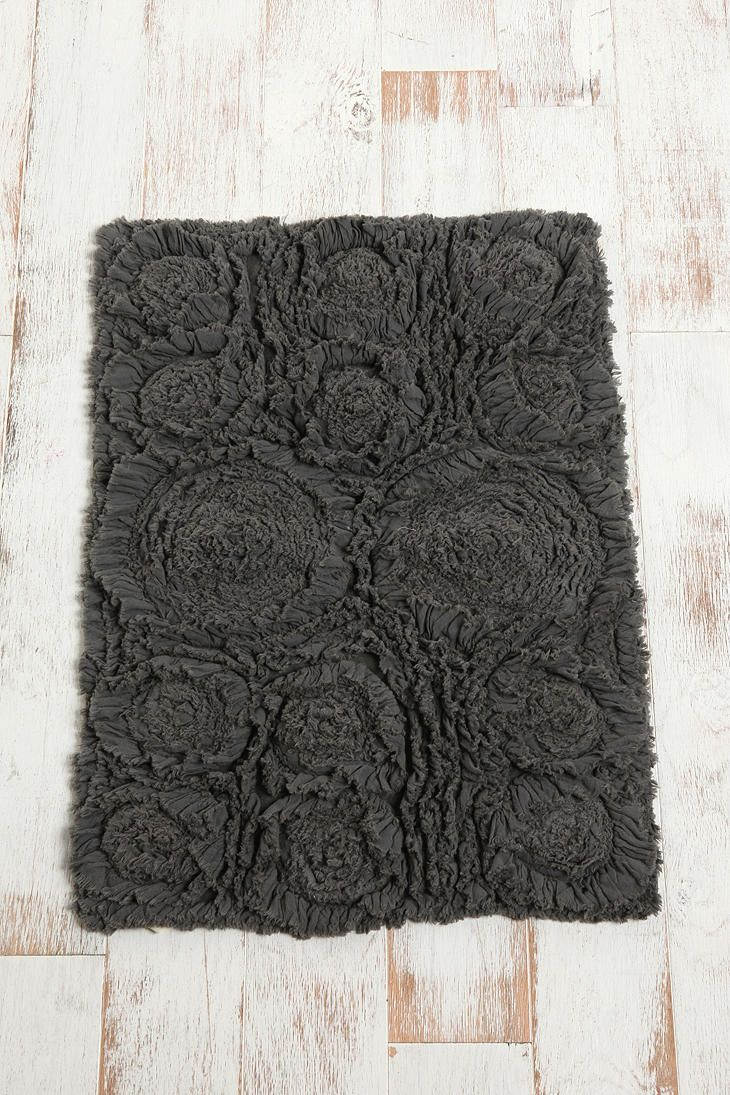 Frayed Roses Bath Mat Urban Outfitters The White And Bathroom Rugs - Dark grey bath rugs for bathroom decorating ideas