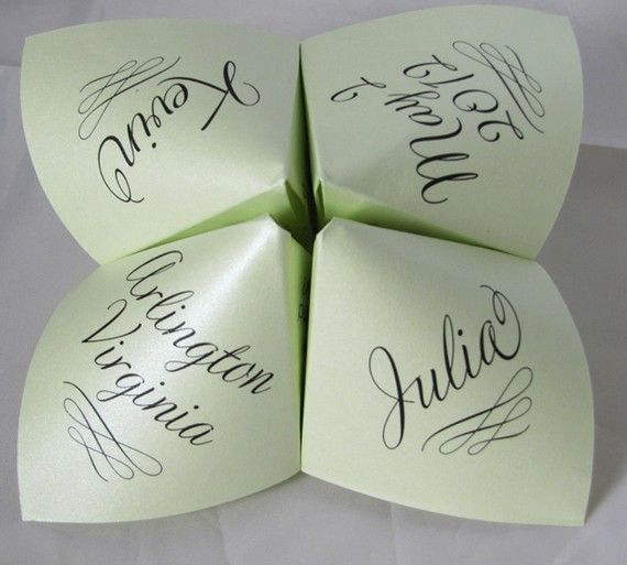 Love this trend for place settings or programs! Cootie Catcher/Fortune Tellers from Etsy are a hit at Bat Mizvahs and they are finding their way into the wedding world as well.