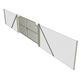 Chain link fence and gate Sketchup model | 3D Architectural