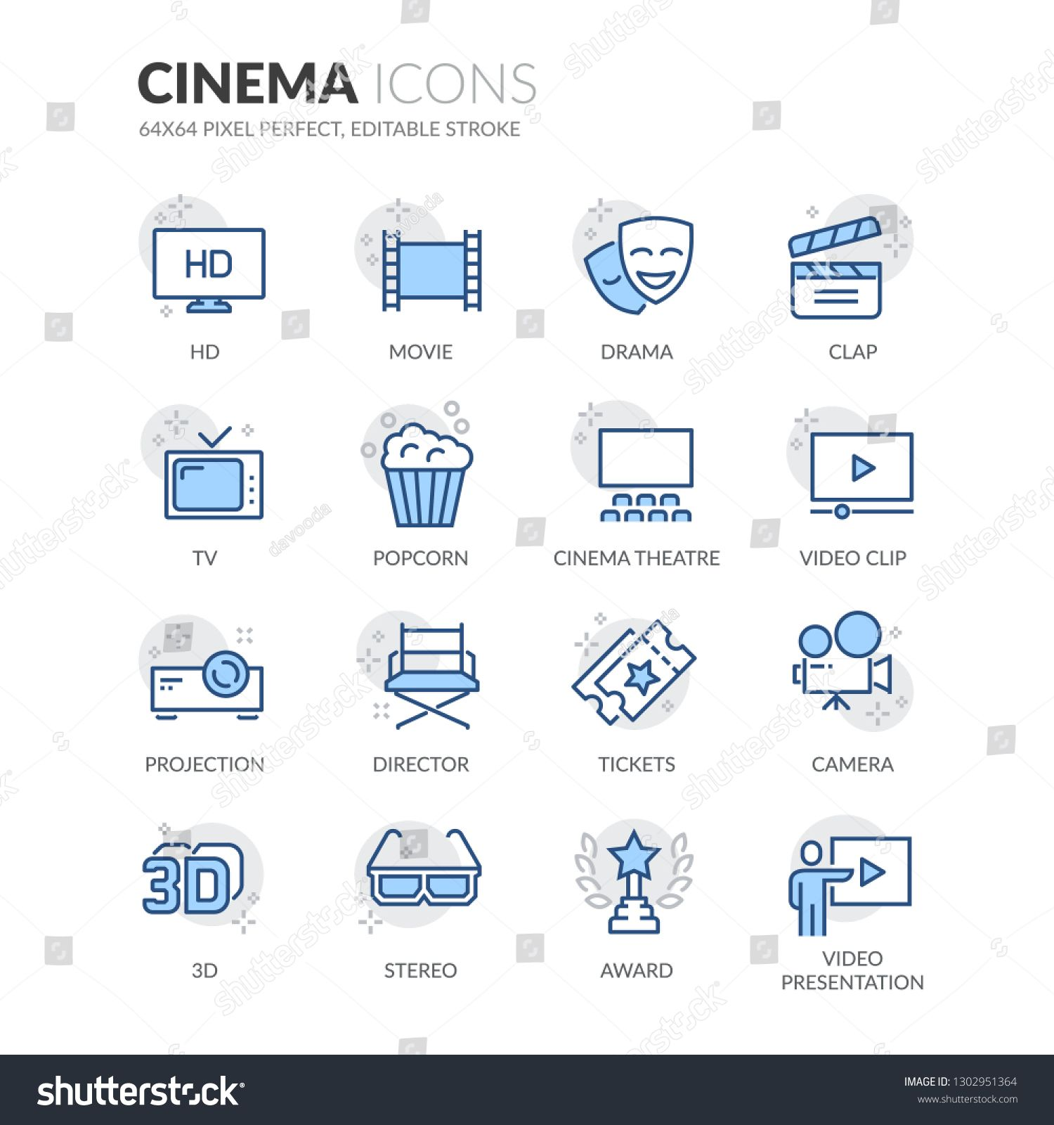 Simple Set Of Cinema Related Vector Line Icons Contains Such Icons As Movie Clip Popcorn Tickets And More Neditable Stroke 6 Iconic Movies Cinema Hd Movies