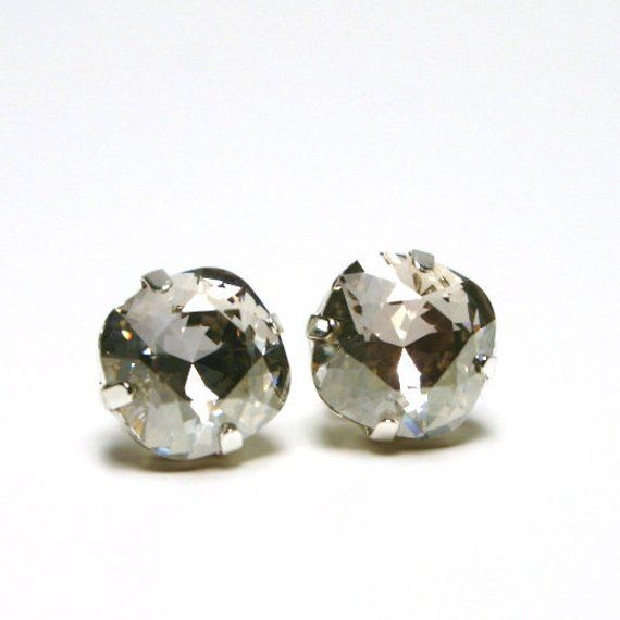 adc0c7dc0 Metallic Silver Crystal Stud Earrings Classic Sparkling Gray Shade  Solitaire Swarovski 10mm Sterling