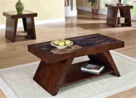 Jelani Dark Brown Cherry Wood Coffee End Table Set