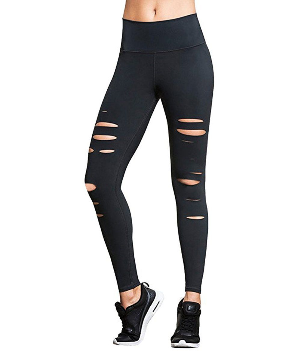 helisopus ripped stretch jersey legging, black front cut out
