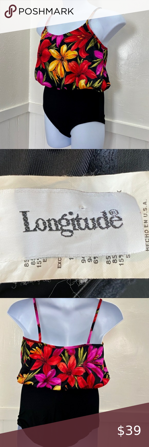 Longitude Women's One Piece Swimsuit EUC   14 Long