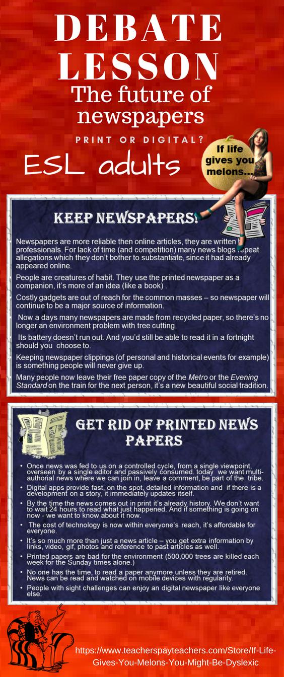 Future of Newspapers, print or digital? ESL adult debate