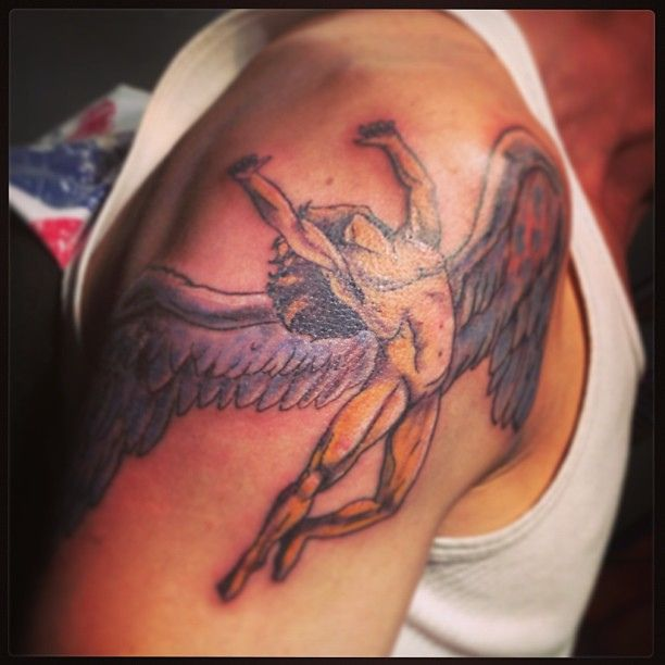 Angel On His Shoulder With Images Led Zeppelin Tattoo Half
