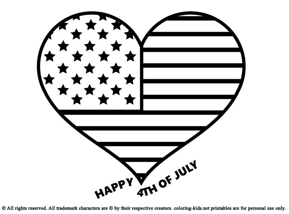 American Flag Love Shape For July 4th Coloring Pages For Kids Coloring Pages For Kids