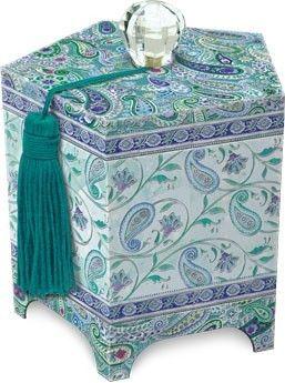 Punch Studio 2013 Boudoir Collection Mini Treasure Box-Paisley Peacock 44014