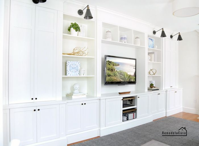 Family Room Builtin  Fast Cabinet Doors - Family room, Family room walls, Appartment decor, Diy dining room, Cabinet doors, Built ins - Complete your DIY project with FastCabinetDoors!