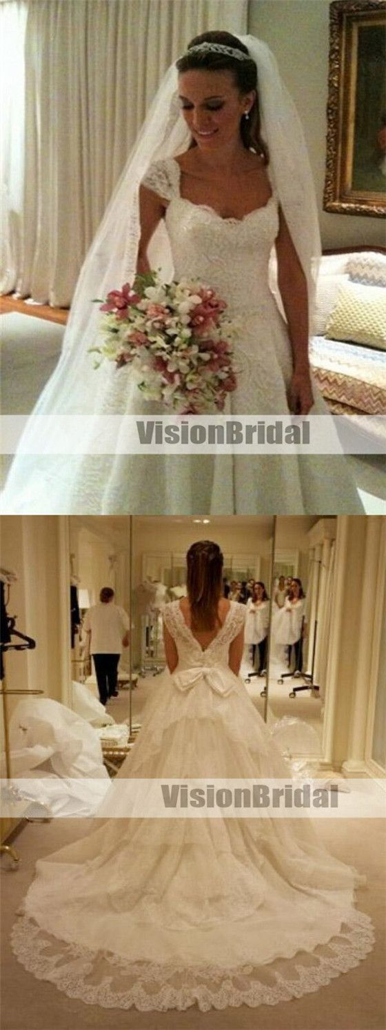 Wedding dress with bow on back  Attractive Cap Sleeves VBack Lace ALine Wedding Dresses With