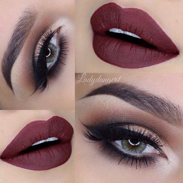 Rojo Quemado Maquillaje Color Vino Maquillaje Mate Y