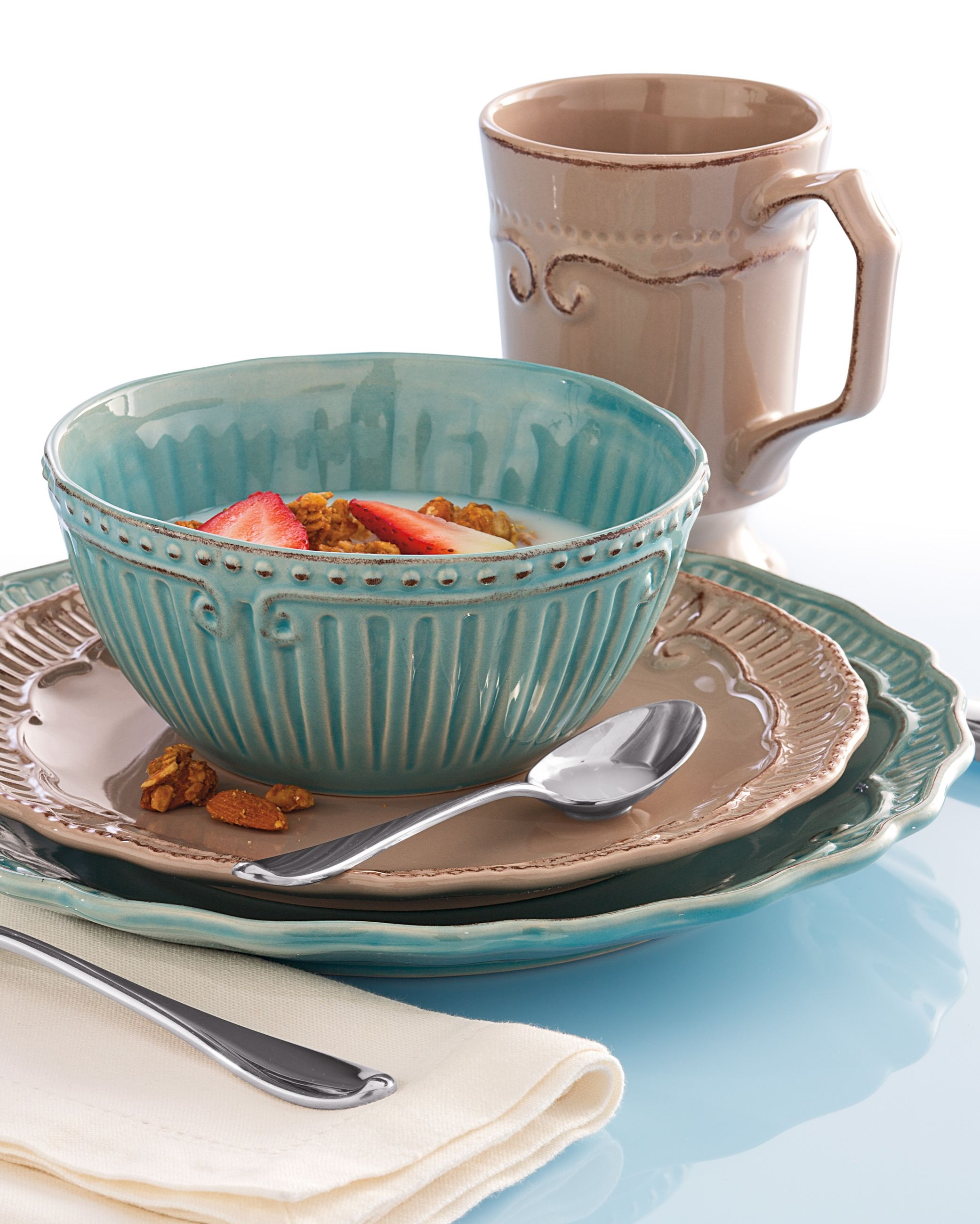 Home Accents Capri dinnerware in taupe and aqua are the perfect fit for your dorm this  sc 1 st  Pinterest & Home Accents Capri dinnerware in taupe and aqua are the perfect fit ...