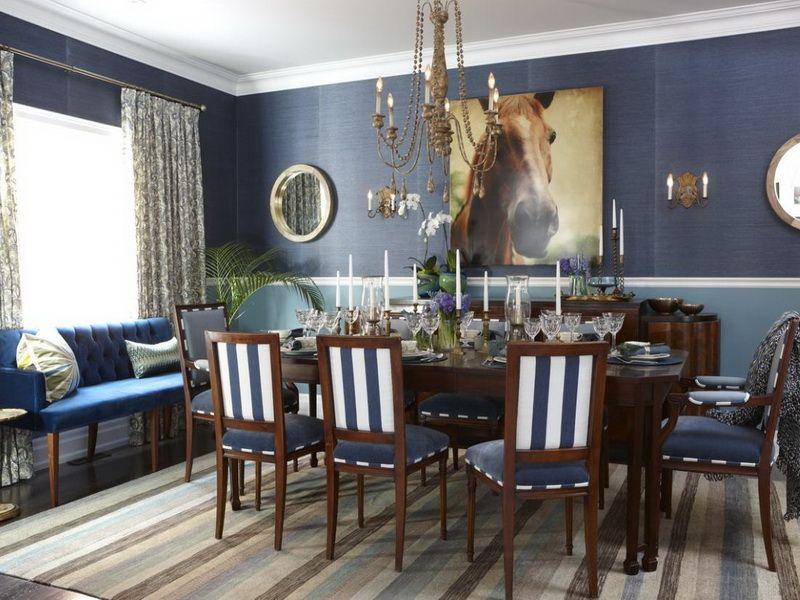 How to Create Dining Room Makeover Ideas: Dark Blue Striped Dining ...