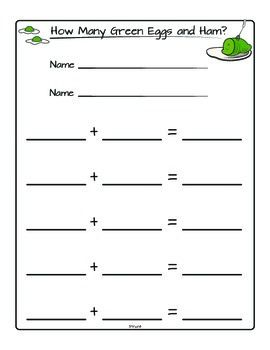 Dr. Seuss: Number Combinations for Green Eggs and Ham