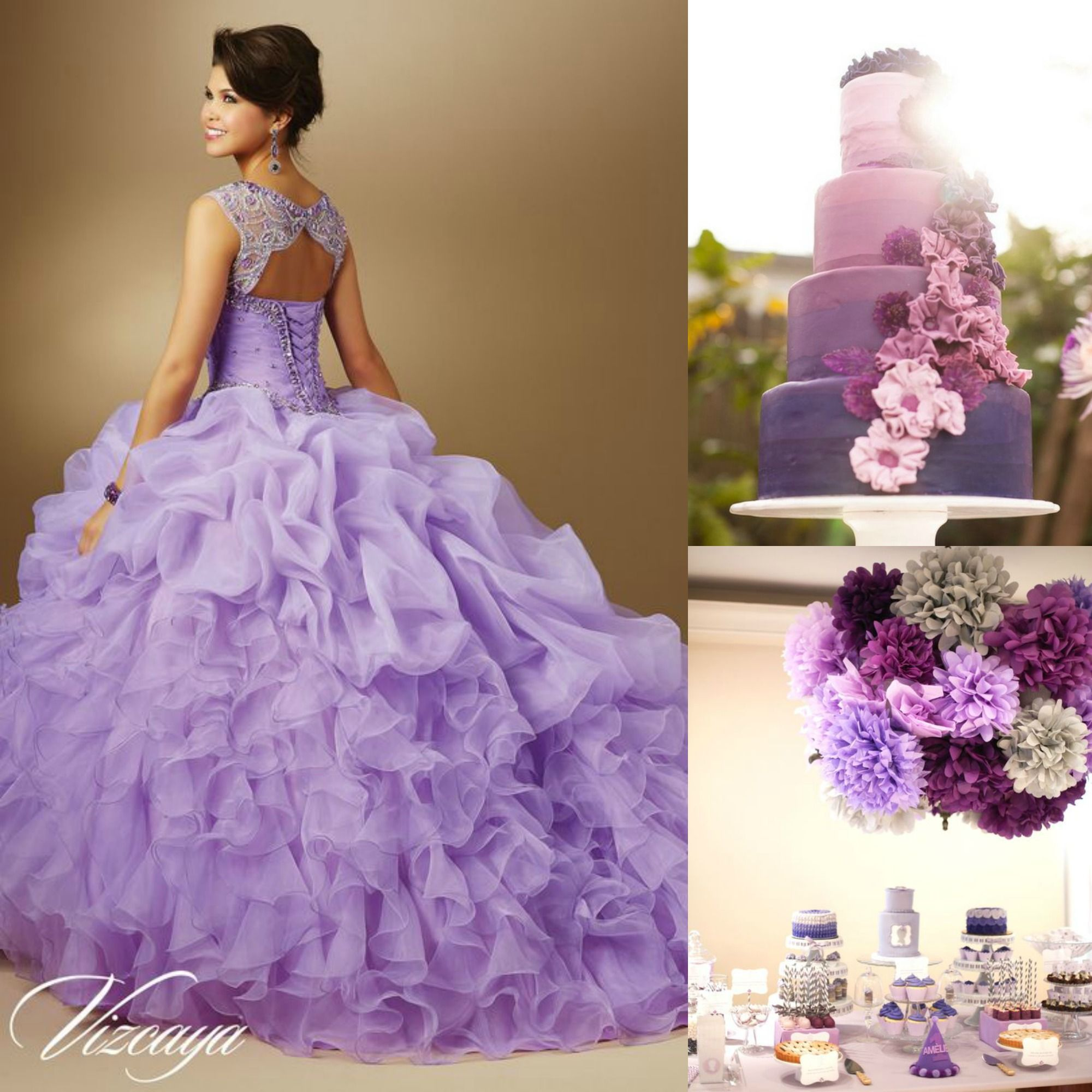 Quince theme decorations quinceanera ideas purple ombre for Quinceanera decorations