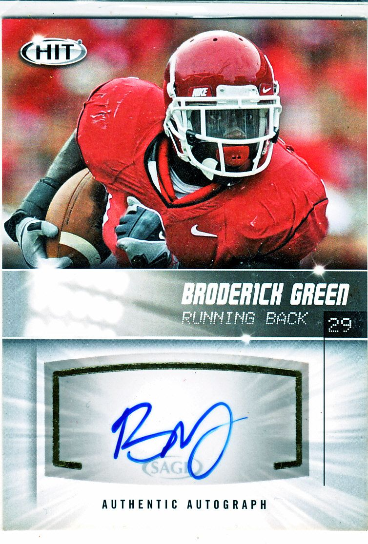 2012 sage hit broderick green rookie certified autograph