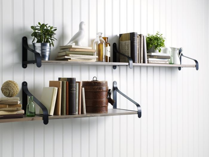 create more visual interest by using two bracket depths and offsetting the shelves shown here