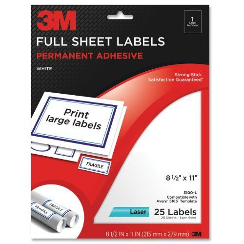 3m Permanent Adhesive Full Sheet Labels 8 5 X 11 Inches White 25 Per Pack 3100 L By 3m Free Super Saver Shipping 10 Sheet Labels Labels Printing Labels