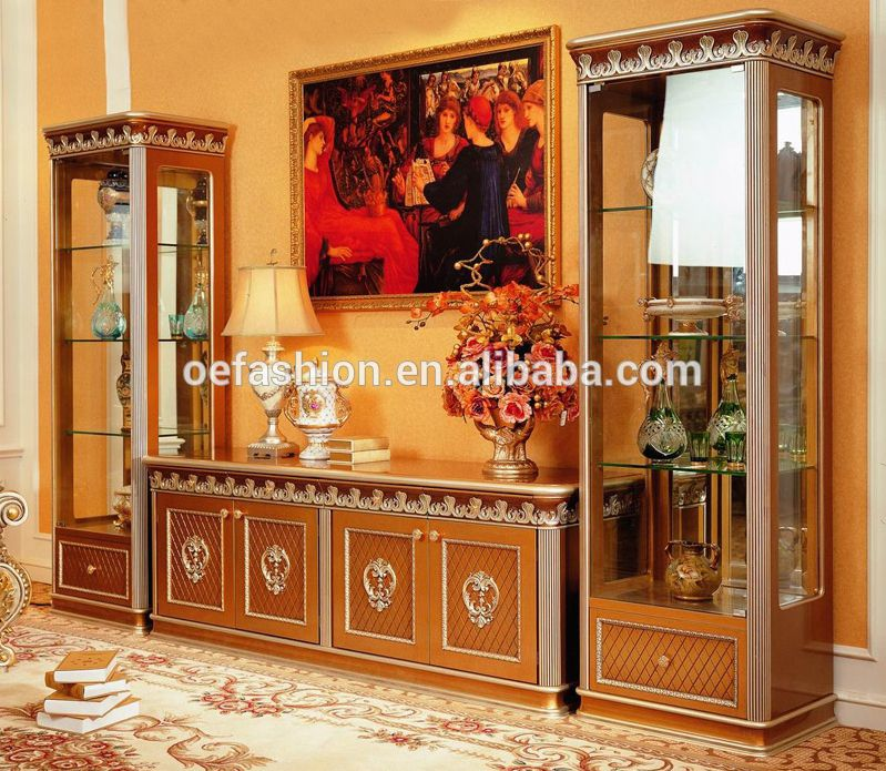 French Rococo Style Living Room Furniture Wine Display Cabinet