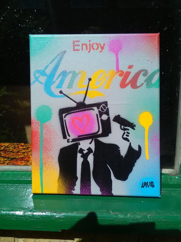 Enjoy america stencil art paintingcanvaslovetelevisiongunsgraffitipoliticsrainbowstreet artsuitspray paint artpop artdesigngrey by