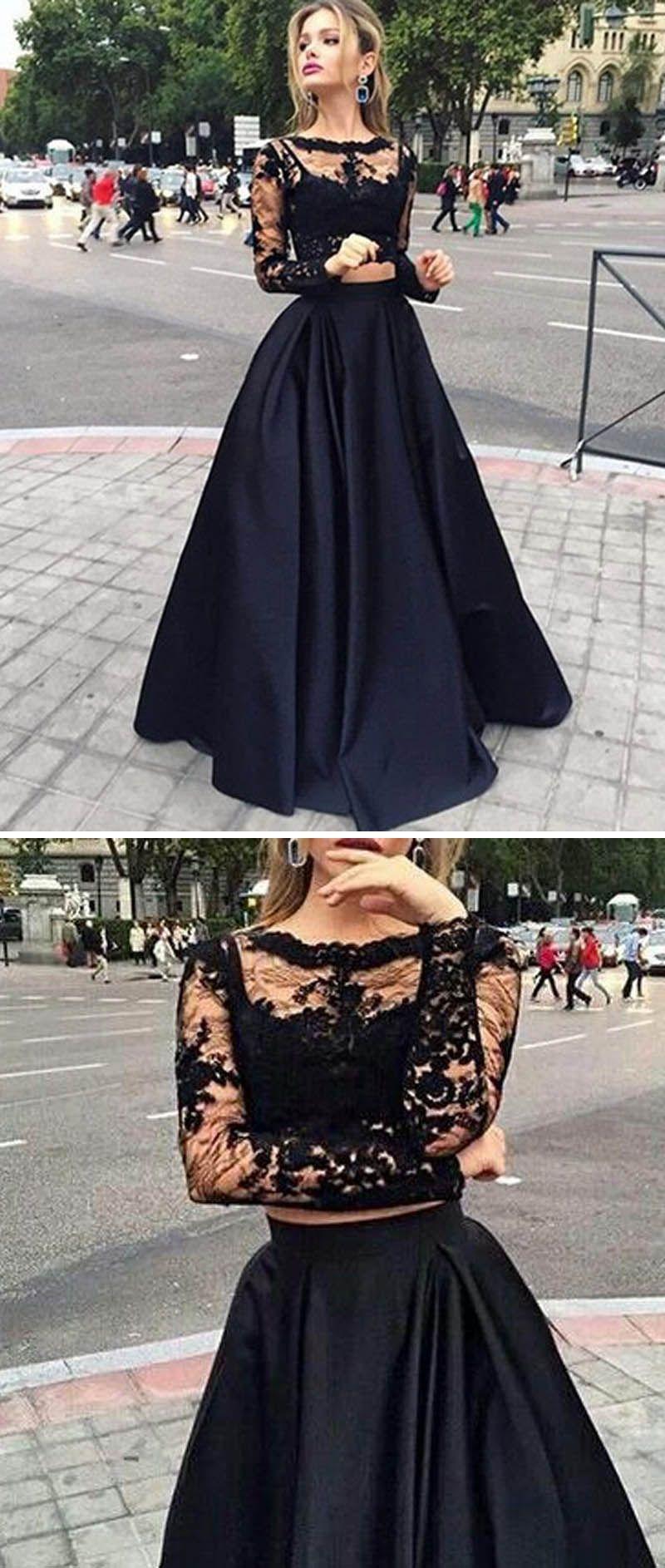 10e371225120b4 Girls Crop Top Long Senior Graduation Prom Gown Black Homecoming ...
