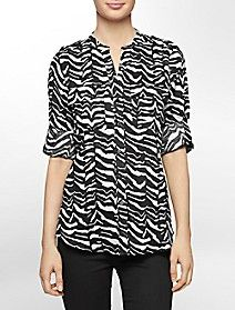 mandarin collar animal print linen roll-up sleeve top $69.50
