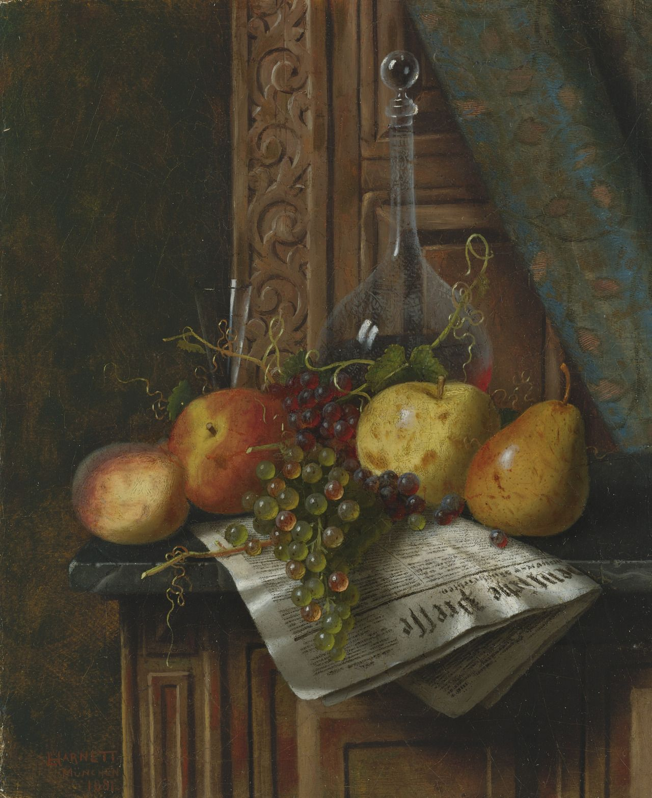 William Michael Harnett (1848-1892) - Still life with fruit and newspaper, oil on canvas, 22.2 x 18.4 cm. 1881.
