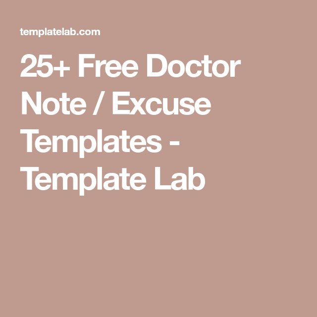 Free Doctor Note  Excuse Templates  Template Lab  Hospitals